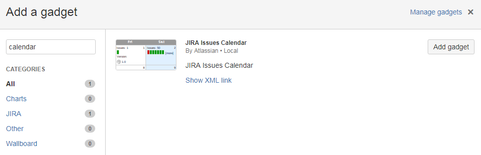 JIRA 7 Issues Calendar gadget