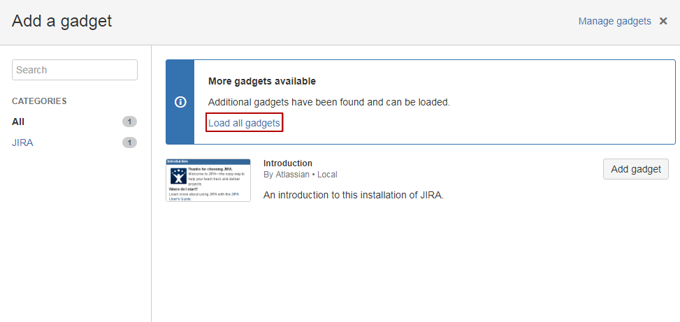 JIRA 7 Gadgets screen