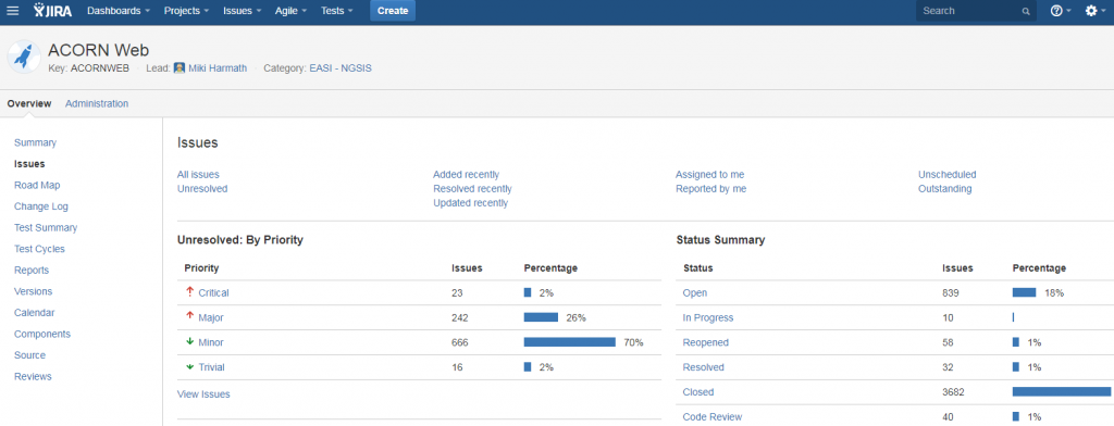 JIRA 6 issues screen