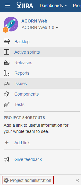 JIRA 7 Project Administration link (now at bottom)