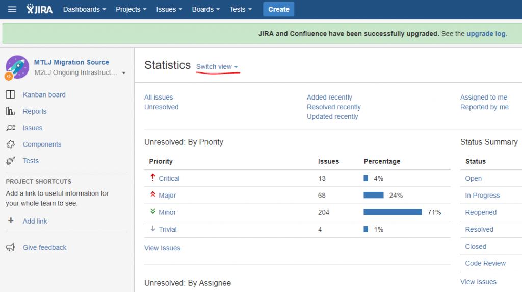 JIRA 7 Statistics screen