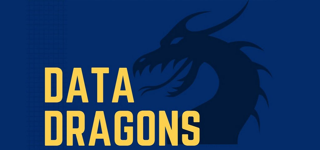 Word Data Dragons on top of abstract dragon.