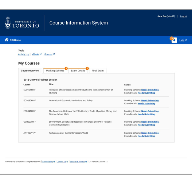Screenshot of the My Courses page that provides updates to instructors