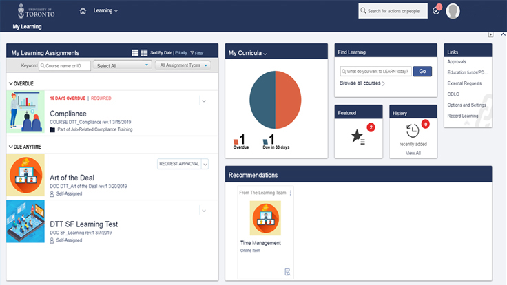 Screenshot of the Learning Management System
