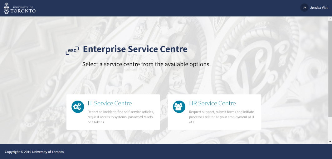 Screenshot of the homepage for the Enterprise Service Centre