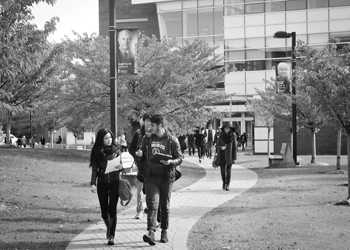 Students walking down path on campus