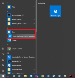 Selecting Ciso AnyConnect from the Windows 10 menu