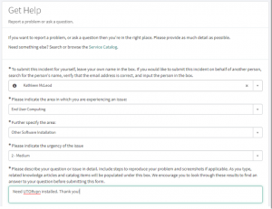 An image of the UTORvpn request form in the Enterprise Service Centre.