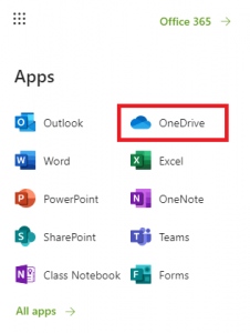 OneDrive icon in the waffle menu at mail.utoronto.ca.