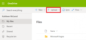Upload button on the OneDrive menu.