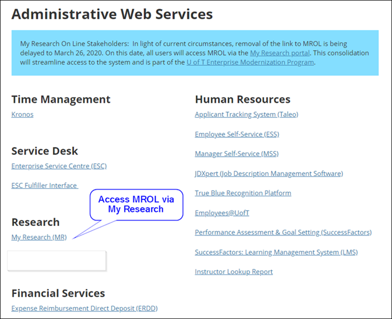 Screenshot of Administrative Web Services webpage