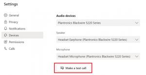 Screenshot of how to make a test call