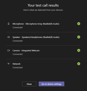Screenshot of your test call results
