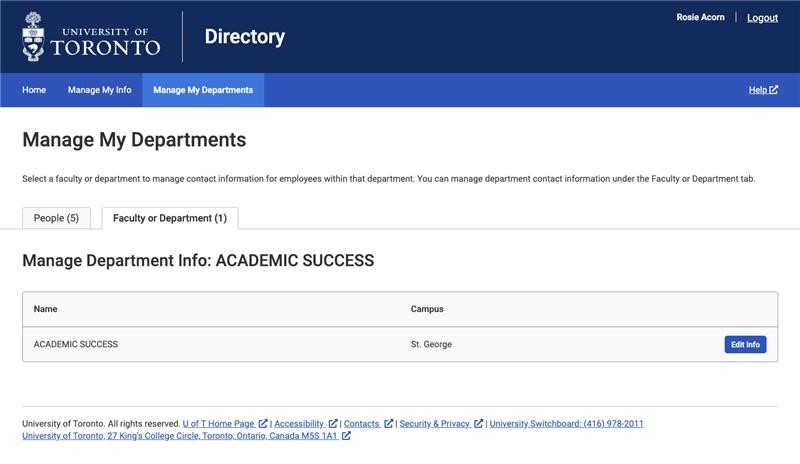 Screenshot of administrator view