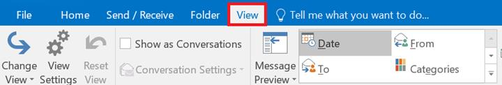 Screenshot of View tab in the main menu