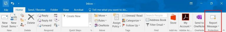 Screenshot of how to report a message in Microsoft Outlook