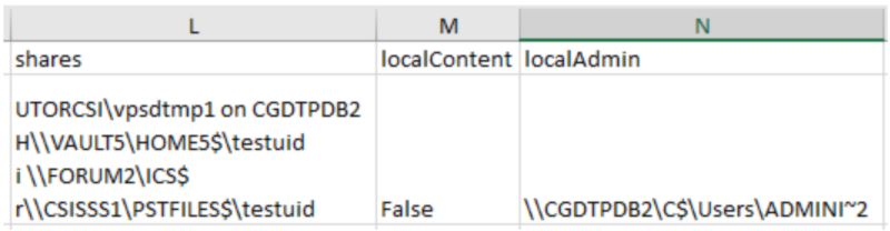 Excel cells L to N