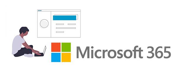 M365 logo with illustration of man using laptop