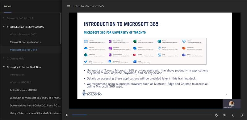 screenshot of M365 course